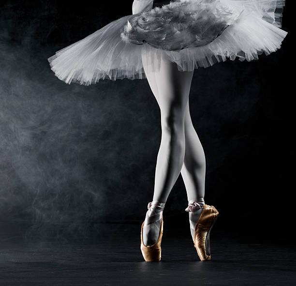 Ballerina en pointe on stage stock photo