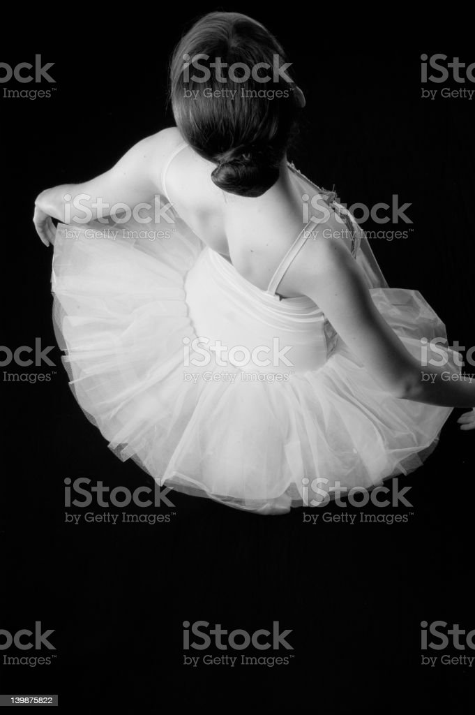 Ballerina from the back BW royalty-free stock photo