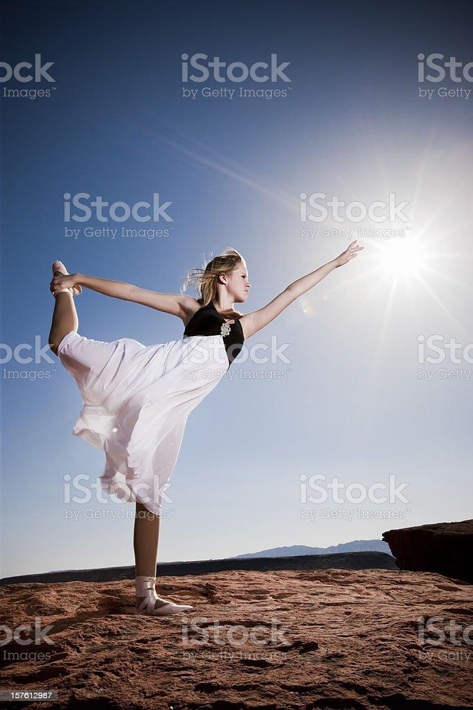 Ballerina Girl Sunrise royalty-free stock photo
