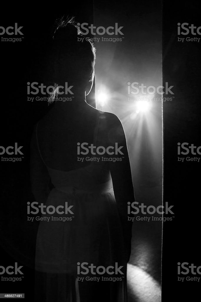 Ballerina in backstage stock photo