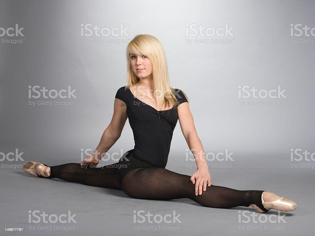 Ballerina in the splits royalty-free stock photo