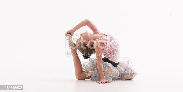 466300721 istock photo Ballerina little ballet children dancer stretching sitting 1185638602
