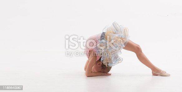 466300721 istock photo Ballerina little ballet children dancer stretching sitting 1185640067