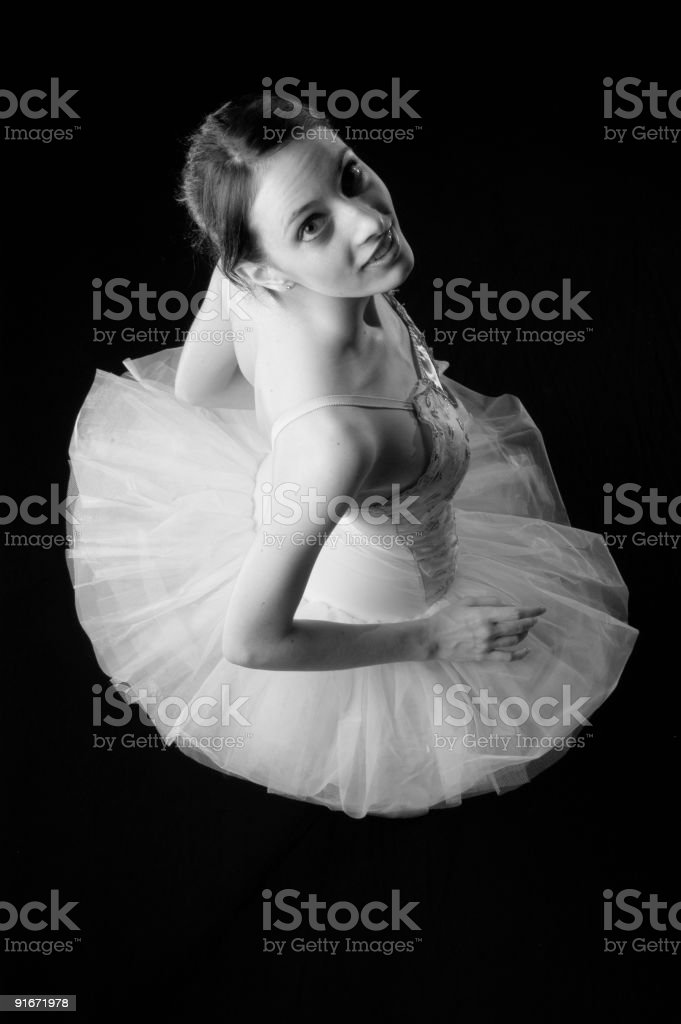 Ballerina looking over shoulder BW royalty-free stock photo