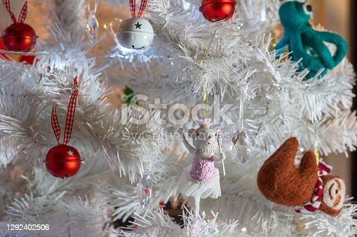 Ballerina Mouse Christmas Tree Ornament. She is in a tutu.