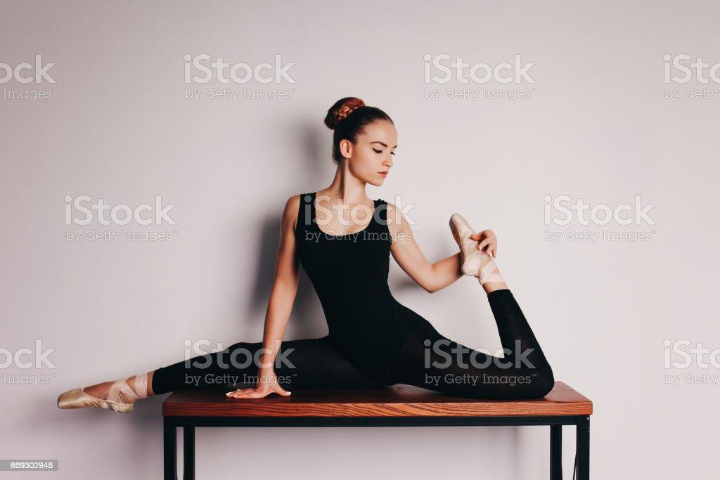 A ballerina on a light background. stock photo