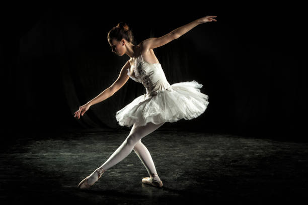 Ballerina on stage stock photo