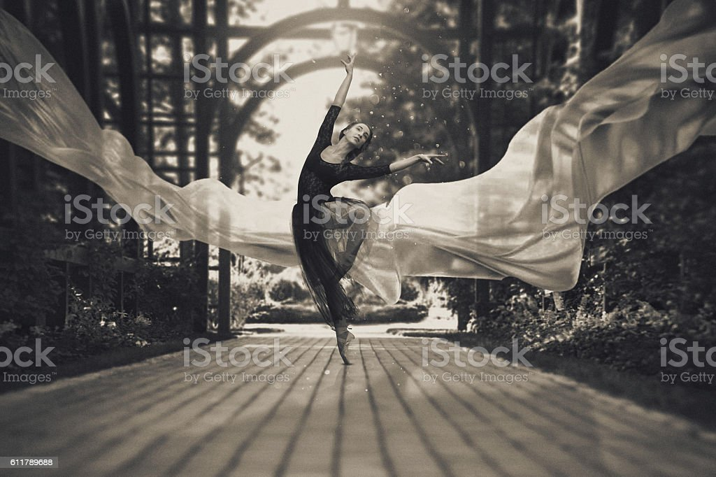Ballerina on the streets stock photo