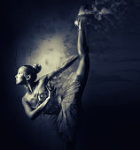 Ballerina. Black and white image with a digital effects