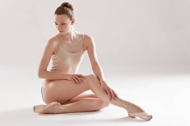 ballerina sitting - leotard stock photos and pictures