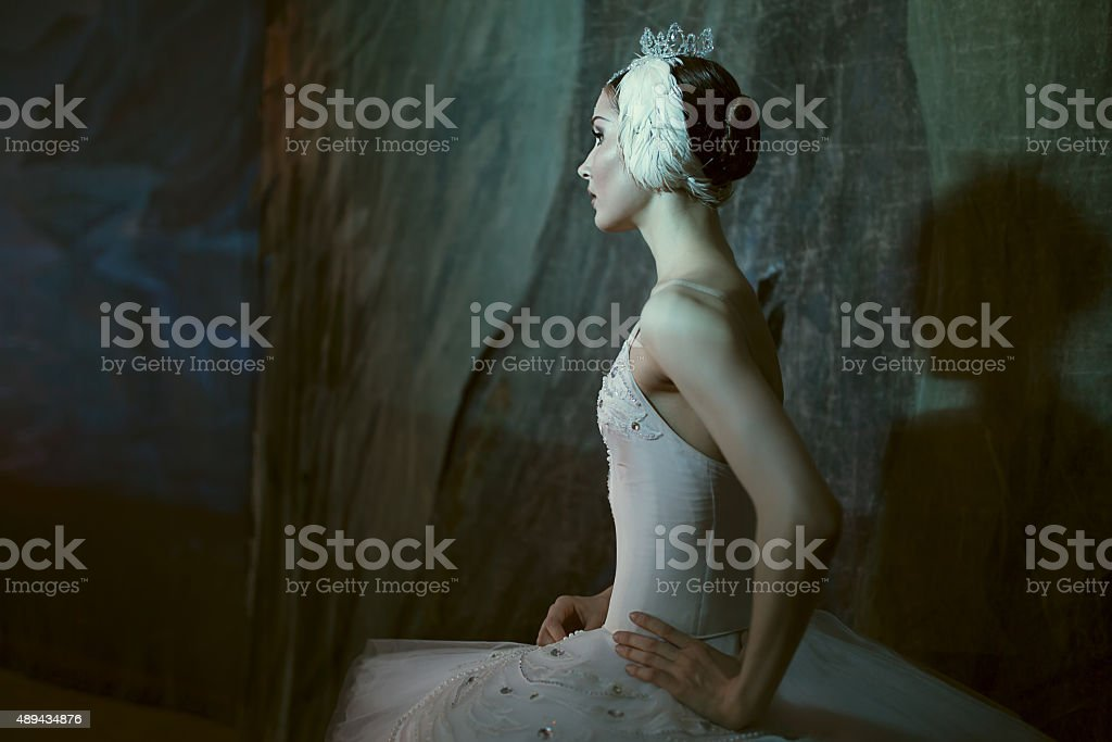 Ballerina standing backstage before going on stage stock photo