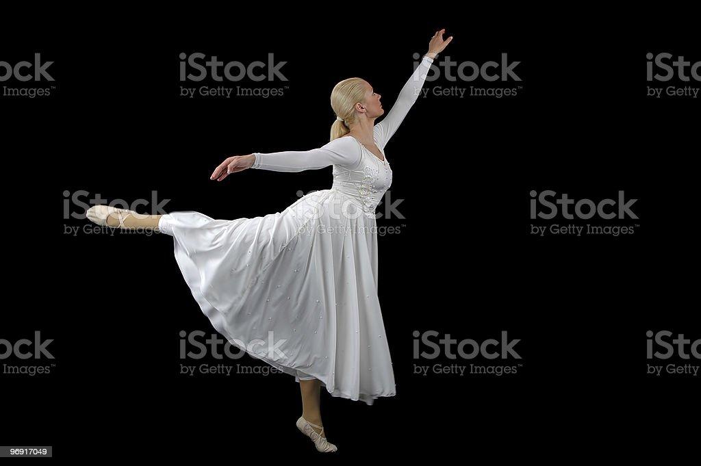 Ballerina wearing white on a black background royalty-free stock photo