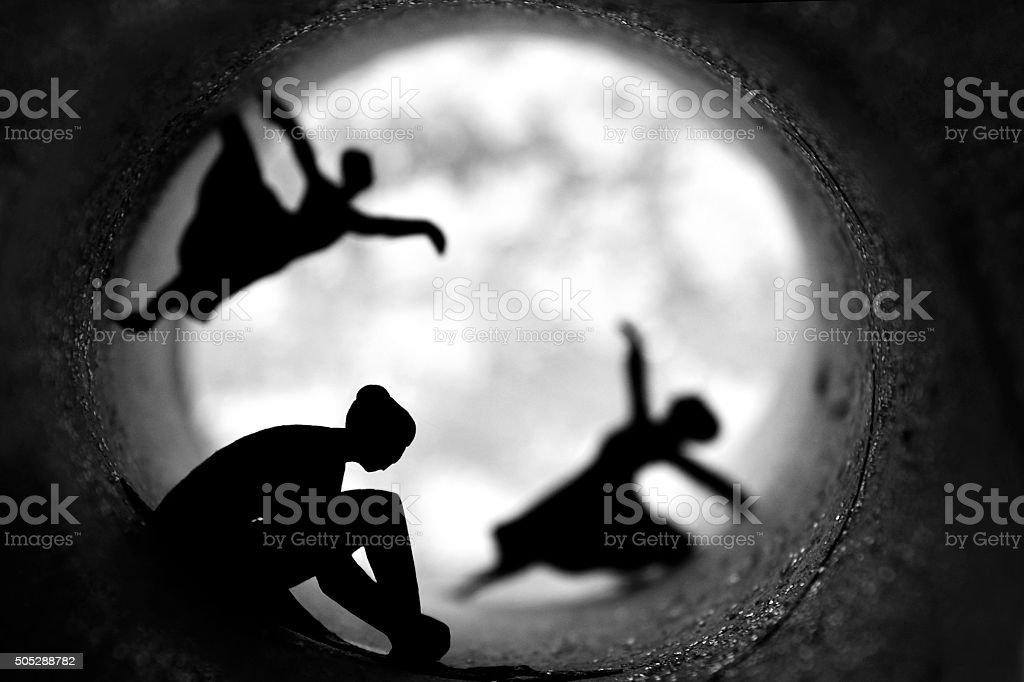 ballerinas dancing tunnel - beautiful scenery stock photo