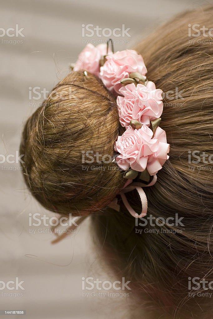 Ballerina's hairdo stock photo