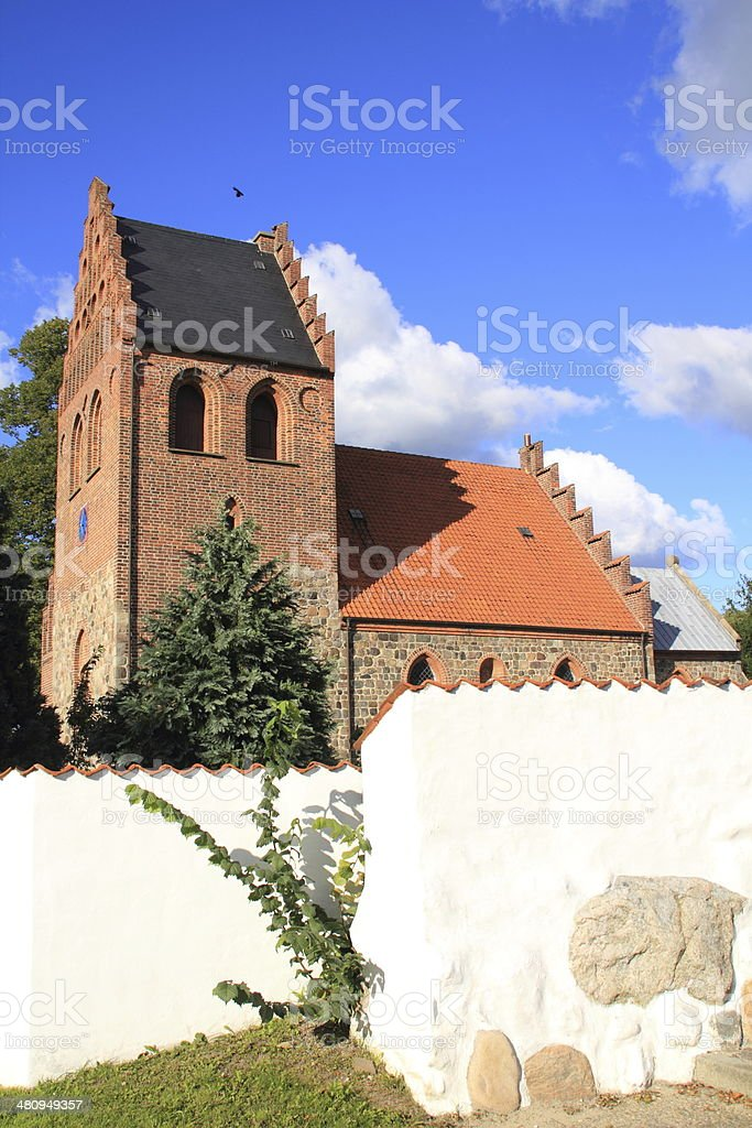 Ballerup Kirke -Romanesque village parish church and cemetary royalty-free stock photo