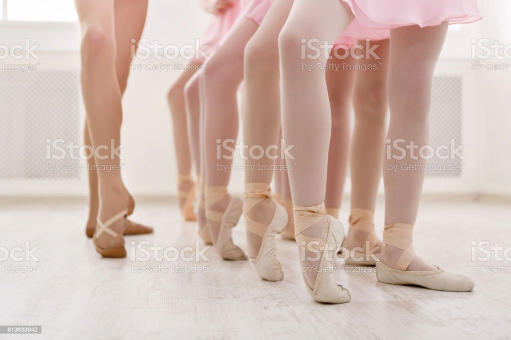Ballet background, young ballerinas training stock photo