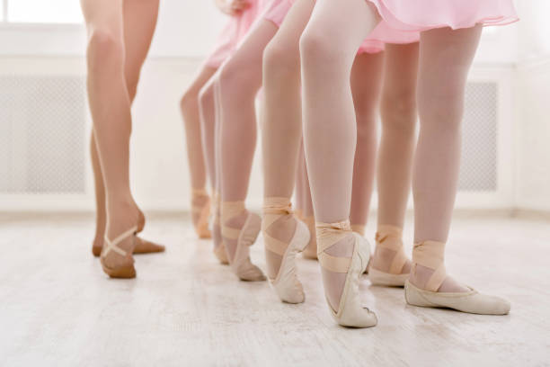 Ballet background, young ballerinas training stock photo