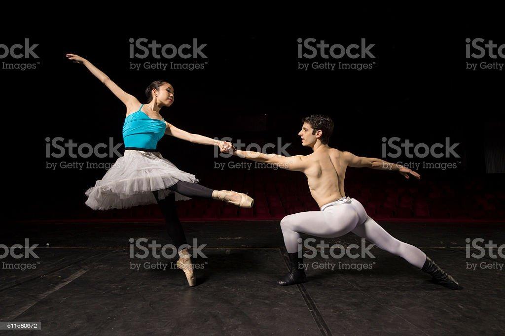 Ballet dance couple, posing. stock photo