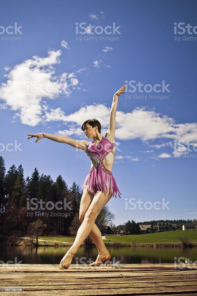 Ballet dancer at lake stock photo