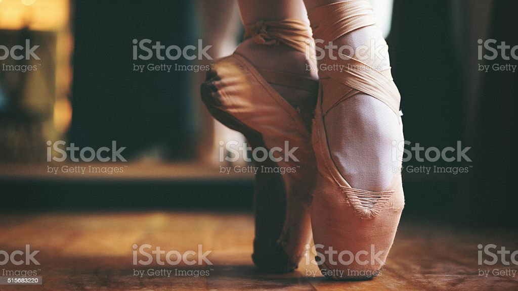 Ballet dancer feet close up shot stock photo