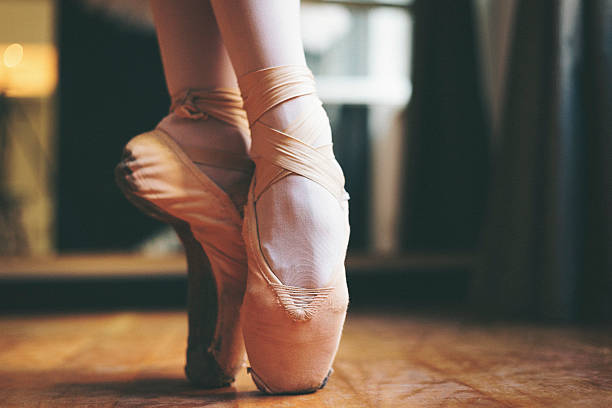 Ballet dancer feet stock photo