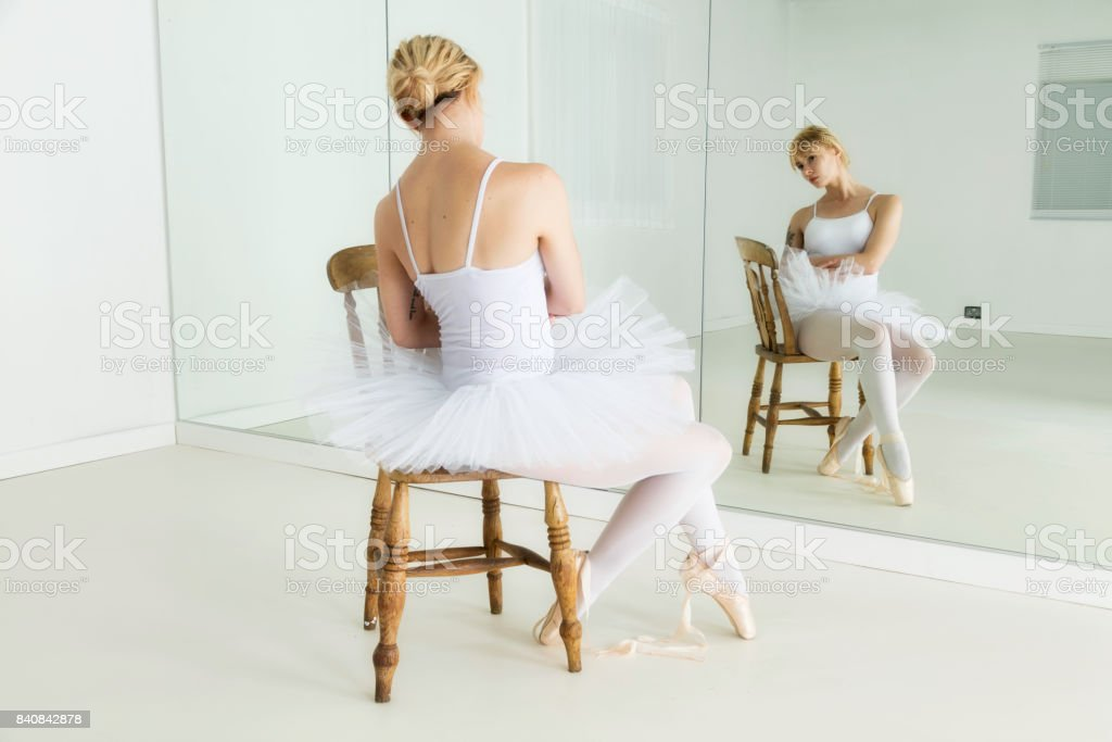 Ballet dancer getting ready stock photo
