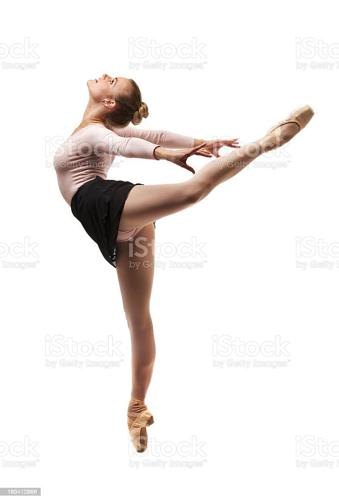 Ballet Dancer in Arched Arabesque Performance Pose on White Background stock photo