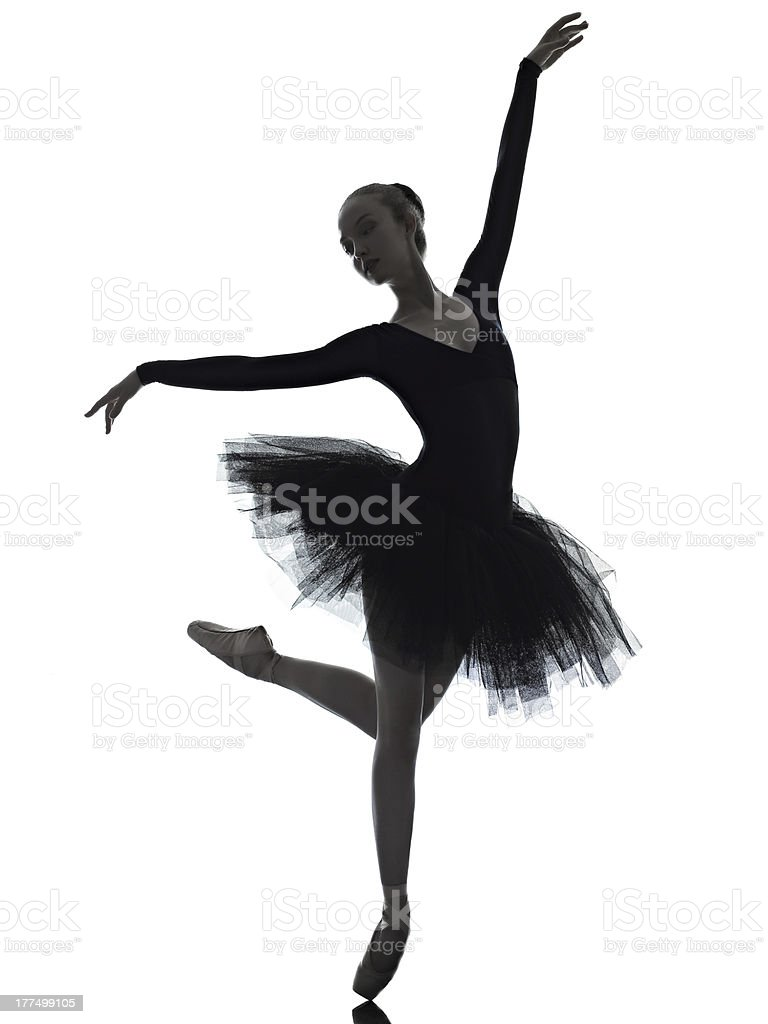 Ballet dancer in perfect form over a white background royalty-free stock photo
