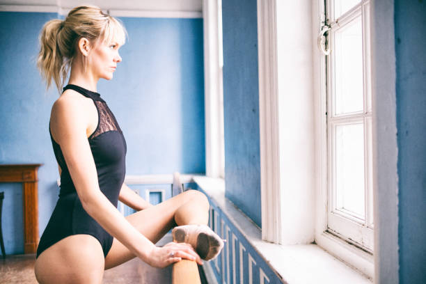 ballet dancer in the dance studio - leotard stock pictures, royalty-free photos & images