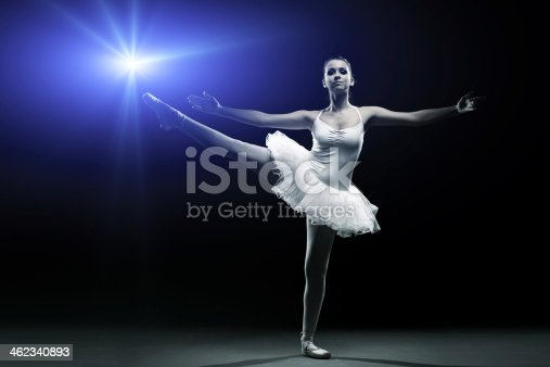 istock Ballet dancer in white tutu posing on one leg 462340893