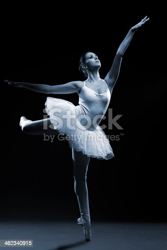 istock Ballet dancer in white tutu posing on one leg 462340915