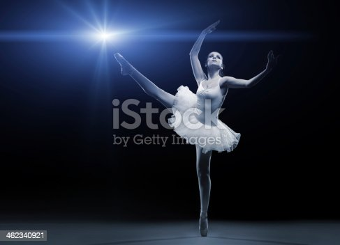 istock Ballet dancer in white tutu posing on one leg 462340921