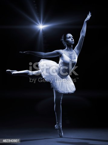 istock Ballet dancer in white tutu posing on one leg 462340931