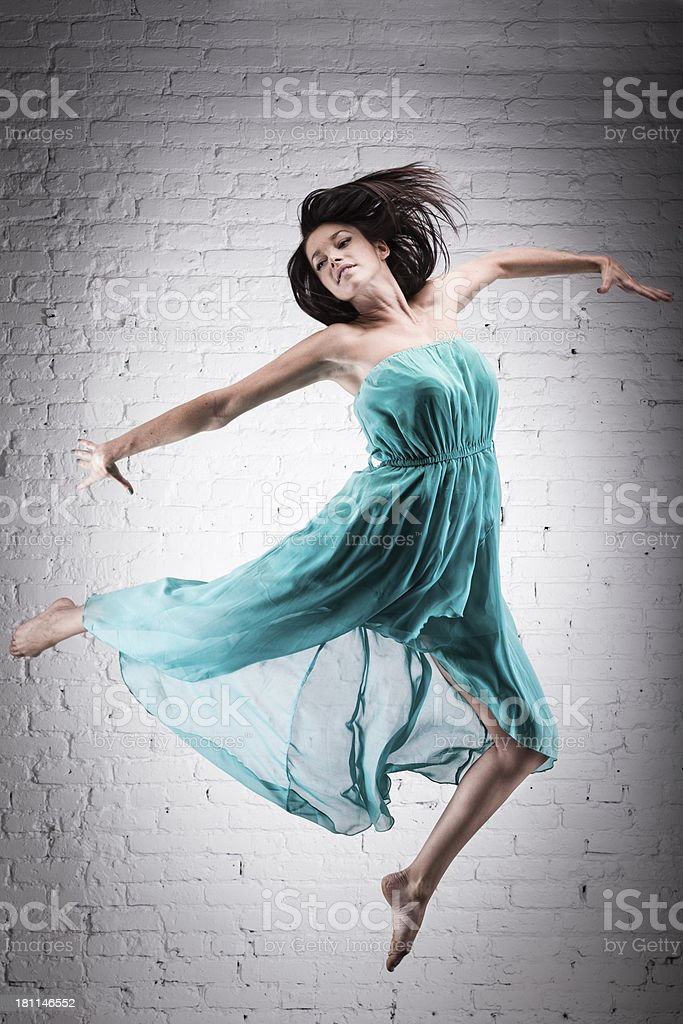 Ballet dancer jumping royalty-free stock photo