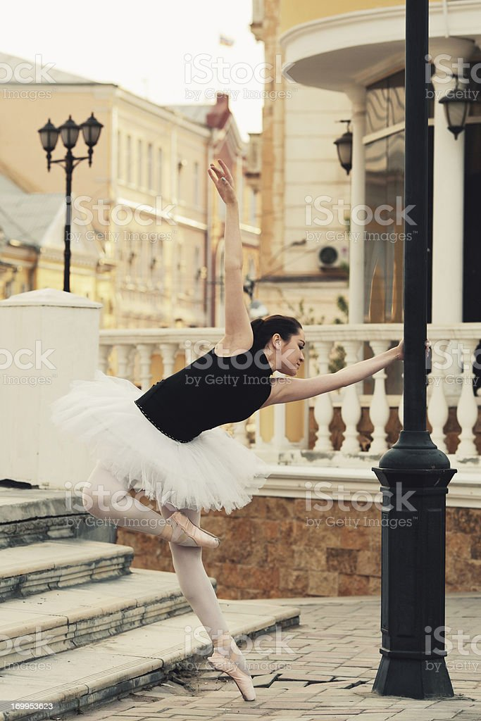 ballet dancer on a city street royalty-free stock photo