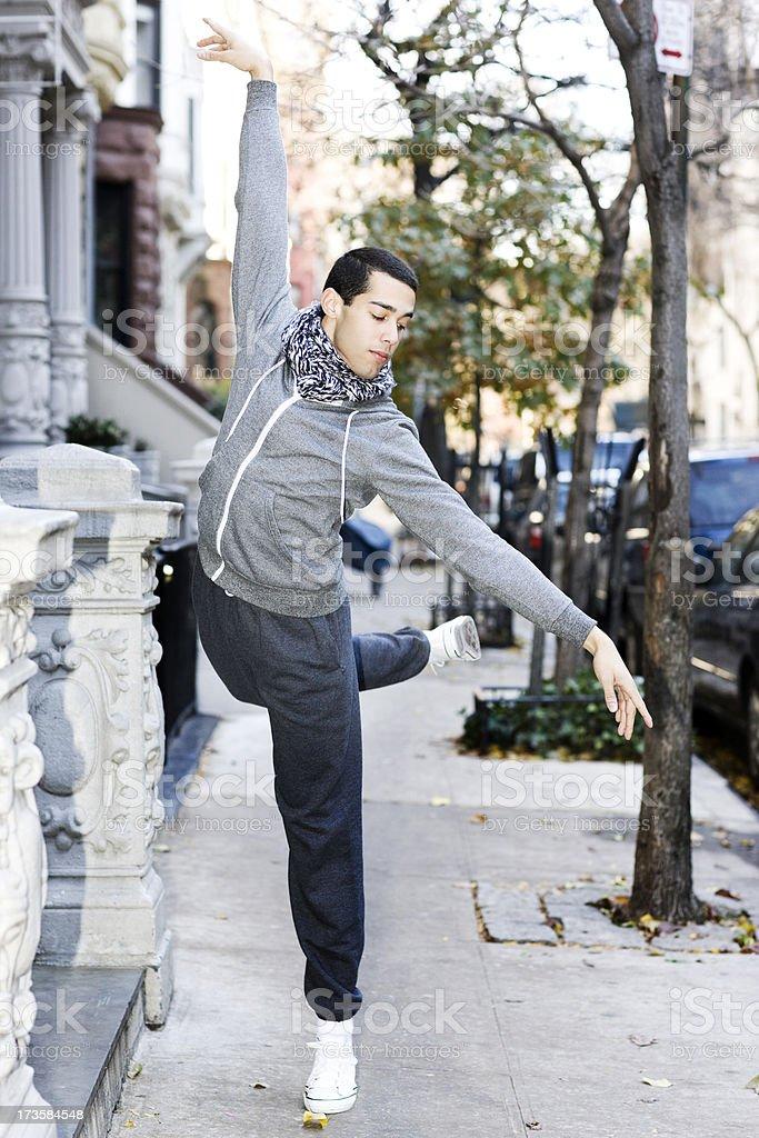 Ballet Dancer on New York City Sidewalk, Young Man stock photo