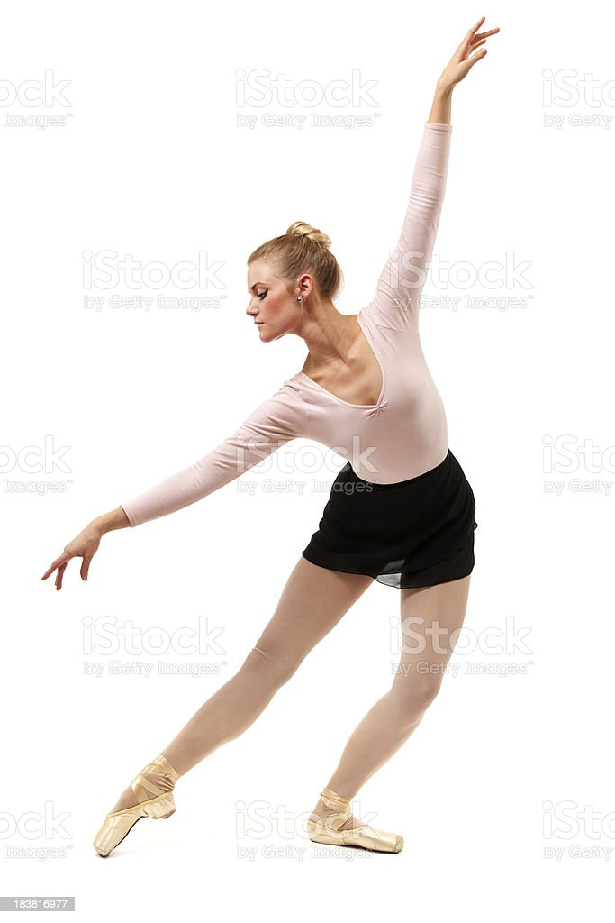 Ballet Dancer Performing Dance Move with Arms Extended on White royalty-free stock photo