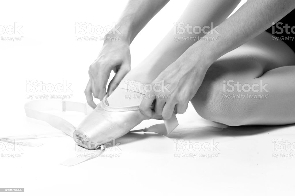 ballet shoes Black and White royalty-free stock photo