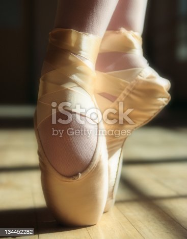 istock Ballet Shoes on Pointe 134452282