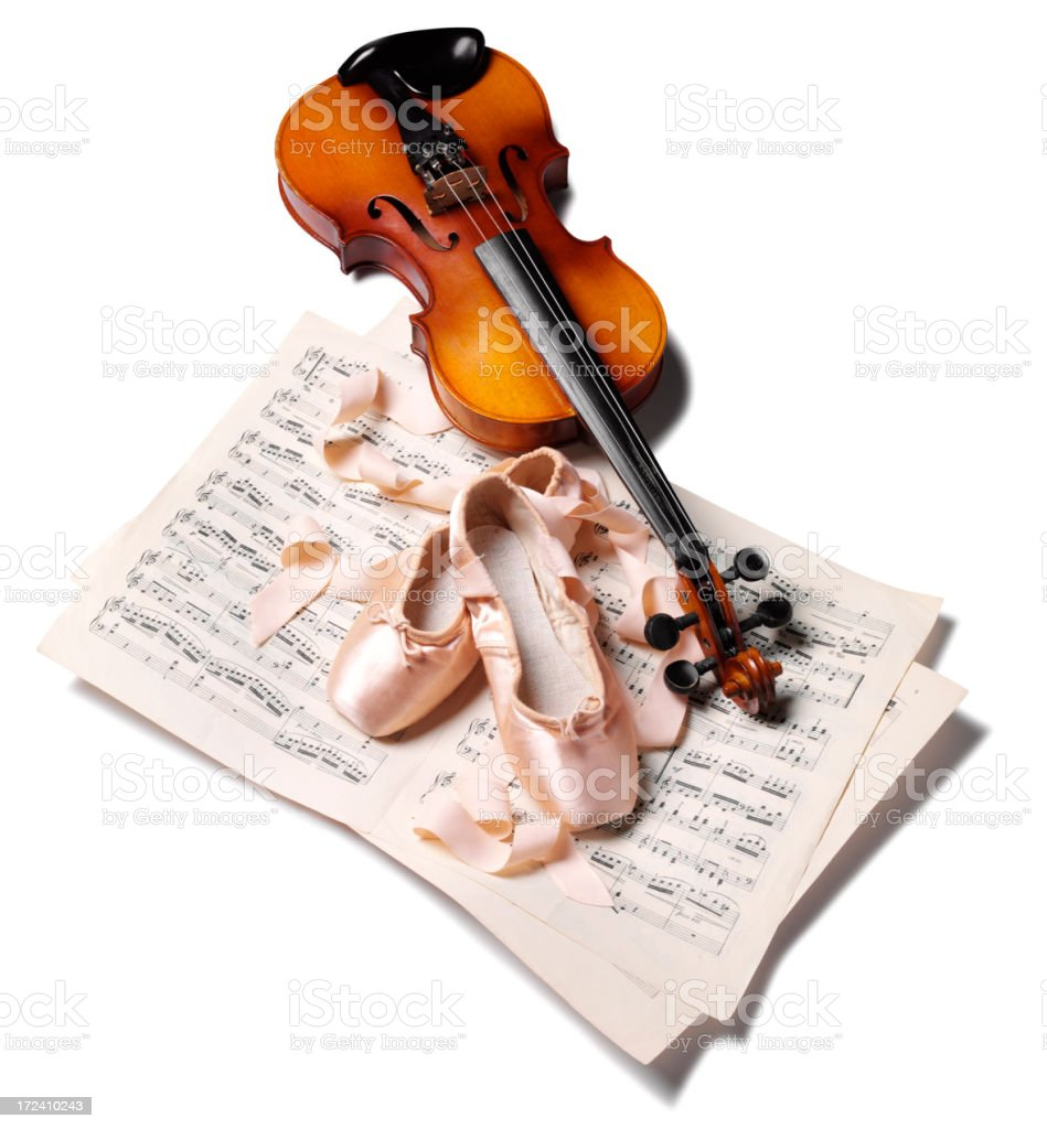 Ballet Shoes with Sheet Music and a Violin royalty-free stock photo