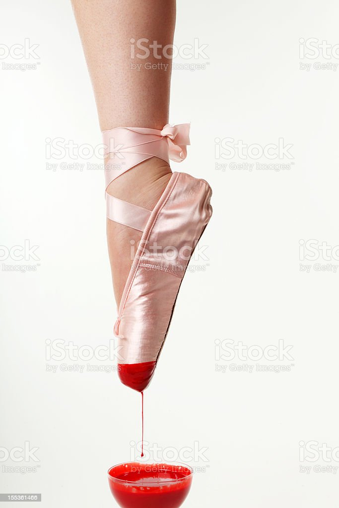 Ballettshoe with blood stock photo