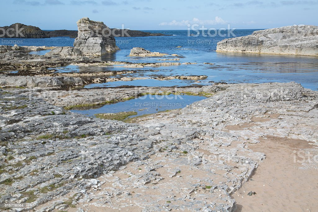 Ballintoy Harbour Beach; County Antrim; Northern Ireland stock photo