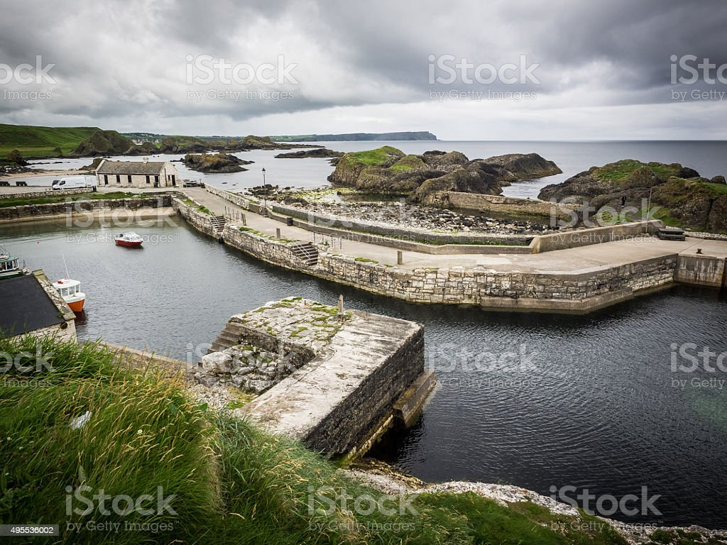 Ballintoy harbour stock photo