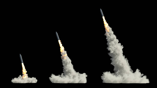 Ballistic launch rocket ballistic launch rocket isolated on black military attack stock pictures, royalty-free photos & images