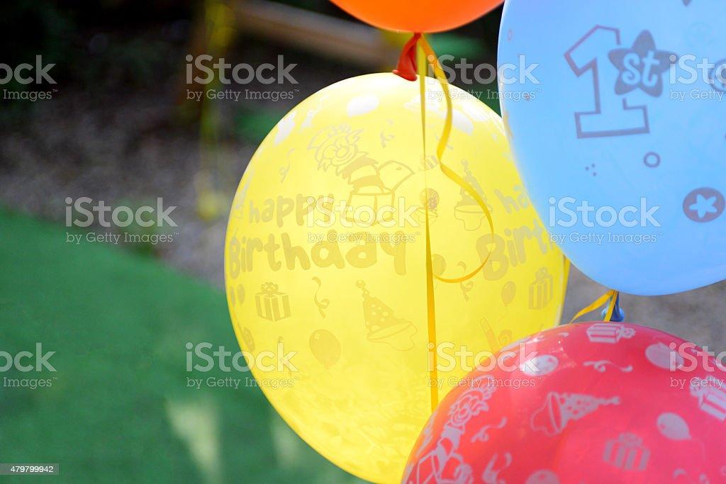 Ballons for 1st birthday stock photo
