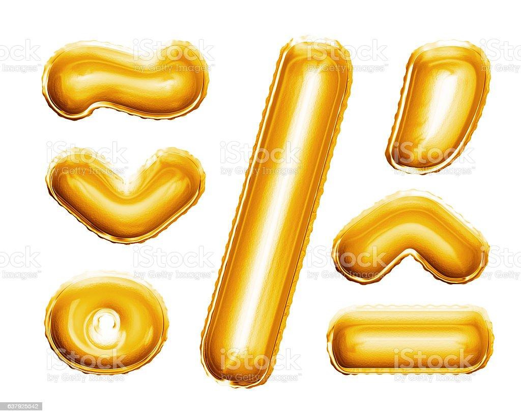Balloon alphabet symbols signs 3D golden foil realistic bildbanksfoto