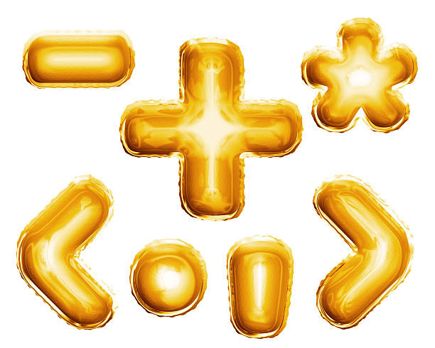 Balloon alphabet symbols signs 3D golden foil realistic Balloon alphabet symbols and punctuation signs of plus, minus, dot, comma, star glyph, brackets. Realistic 3D isolated gold helium balloon abc alphabet golden font text. Decoration element minus sign stock pictures, royalty-free photos & images