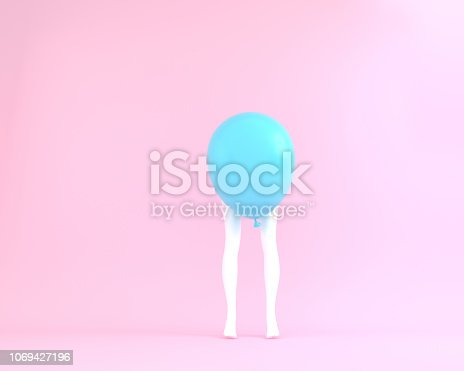 903520476 istock photo Balloon blue pastel with white legs woman on pink color background. Creative layout made for festival like birthday or christmas celebration party. minimal party concept idea. 1069427196