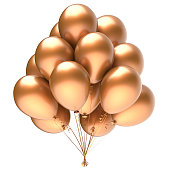 Balloon bunch golden yellow party happy birthday decoration