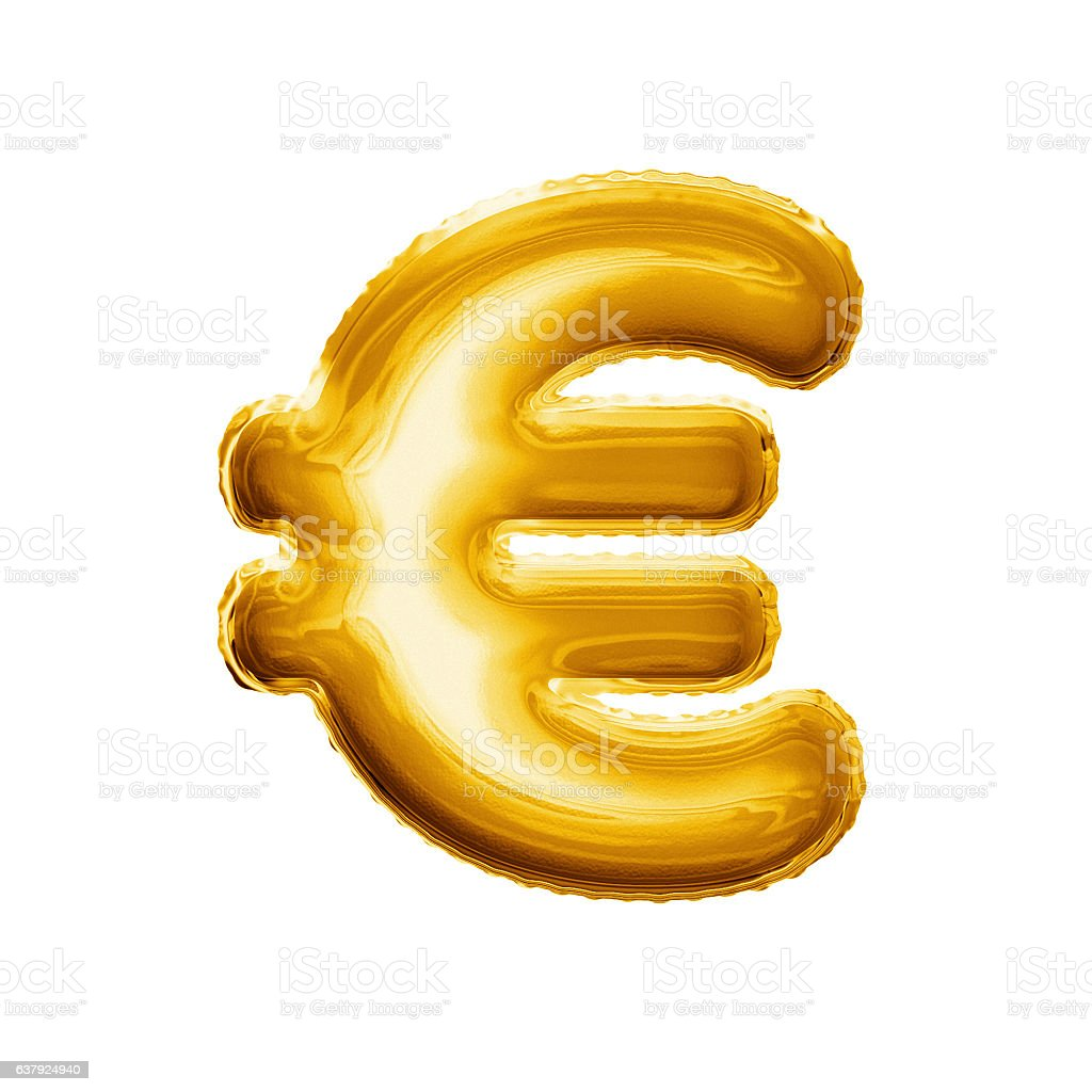 Balloon Euro Currency Symbol 3d Golden Foil Realistic Stock Photo